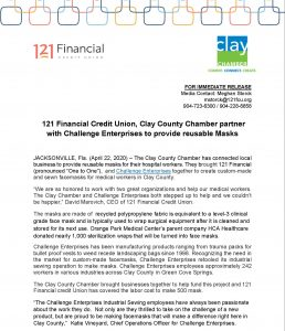 121 Financial Credit Union Mask Agreement with Challenge Enterprises