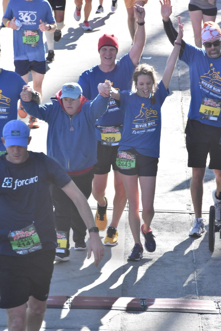 Group of Runners excited while running